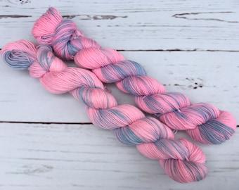 Bubblegum Mini Hand Dyed Superwash Merino/ Nylon Sock Yarn