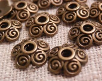 10mm Antique Bronze Beadcaps Scroll Beadcaps Jewelry Making Beading Supplies DIY Supplies