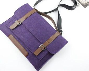 Shoulder Strap Zipper Felt Macbook sleeve, Macbook Air case, Macbook Pro sleeve, Macbook 11 13 15 Air Pro Retina Sleeve, laptop sleeve 054PU