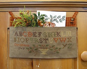 Primitive Cross Stitch Pattern - Holly Sampler Pouch