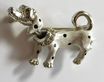 Vintage Bobblehead White Spotted Dog Pin