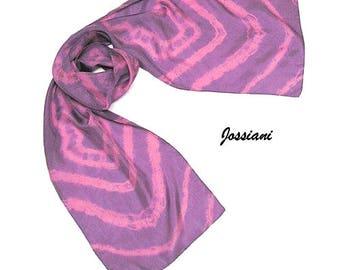 Pink Violet Purple Scarf Tie Dye Shibori Orchid Lavender, One of a Kind Hand Hemmed, Artist Handmade, Jossiani.