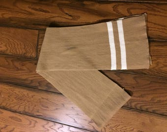 Tan Vintage Scarf with White Double Stripe Details