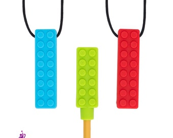 3-Pack Chew Necklace - Biting Necklace and Pencil Topper for Autism, Sensory Processing Disorder, and other Special Needs