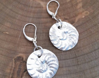 Fine Silver Nautilus Shell Disk Earrings. Made in Canada