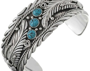 Silver Turquoise Flower Leaves Cuff Bracelet Navajo Made Native American Jewelry