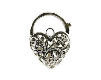 Sterling Silver Large Heart Padlock For Bracelets