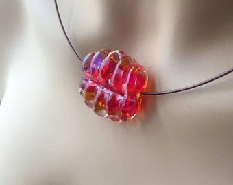 Handmade Lampwork Glass Bead Pendant Necklace