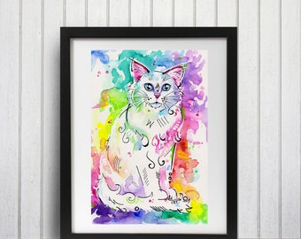 Cat decor, Cat print, Fluffy cat, Art print, Wall decor, Cat lover gift, brightly colored, Pet painting, Animal art, Watercolor art
