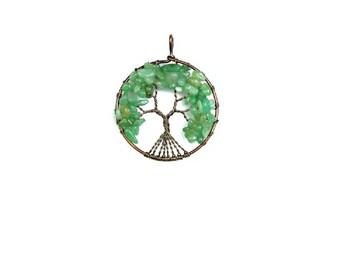 Green Aventurine Tree of Life Pendant , Copper  Wire  Wrapped ,  Genuine Green Aventurine Gemstones ,  Round Pendant