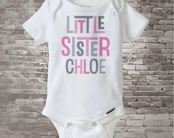 Girl's Personalized Little Sister Onesie or Tee Shirt with Pink and Grey Text 04082013f