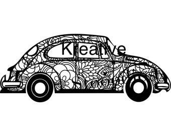 Volkswagen bug zentangle