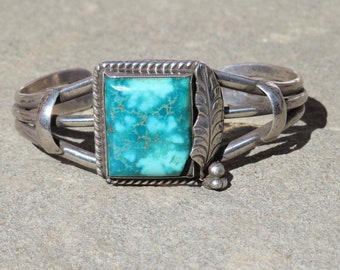 Navajo Turquoise Jewelry, Native American Turquoise Bracelet, Vintage Turquoise Cuff, Turquoise and Silver Bracelet, Old Pawn Turquoise Cuff