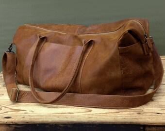 SALE! Brown Mens Travel Bag Groomsmen Gift Men's Overnight Bag Leather Weekender bag Leather Duffle Bag Men's Travel weekender bag women