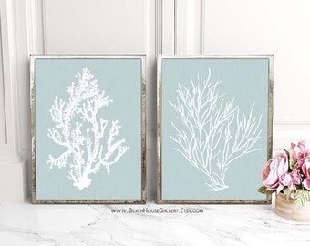 Silvery Blue Wall Art, Coral Print, Coral Art Print, Bathroom Art, Silvery Blue, Soft Blue Wall Art, Blue Gray Wall Art, Coral Prints, 8x10