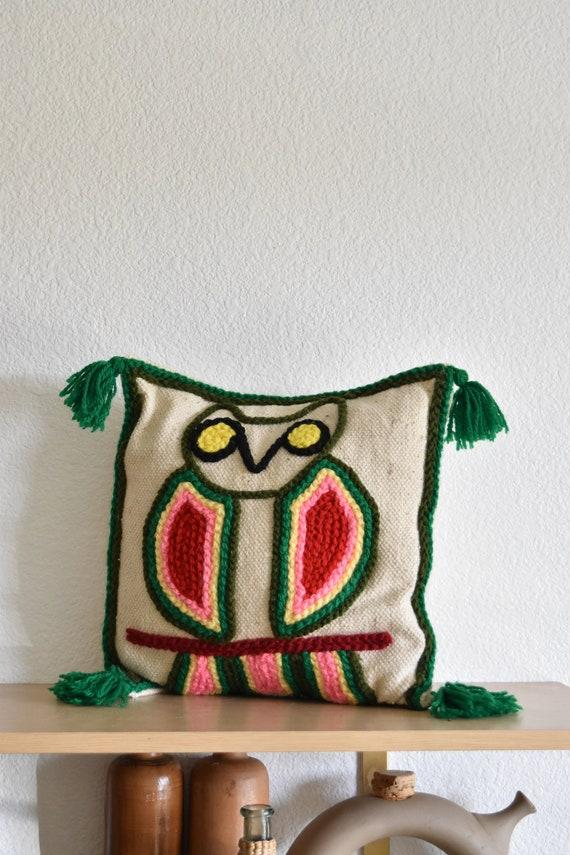 rainbow woven owl throw pillow case with tassles / kid's bedroom decor