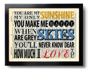 You are my Sunshine Lyrics Quote Art Print Vintage Book Print Recycled Vintage Dictionary Page Collage Repurposed Book Upcycled 231