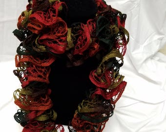Knitted Ruffle Scarf Green, Red, and Brown