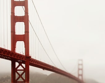 "San Francisco Art, Golden Gate Bridge, California Photography, Bay Area, San Francisco Print, Fog ""Lost in Thought"""
