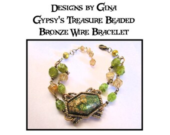 Gypsy's Treasure Beaded Bronze Bracelet DG0043B1  Handmade Original Designs by Gina Dangle Drop Green Beads Confetti Lucite Upcycle Recycle