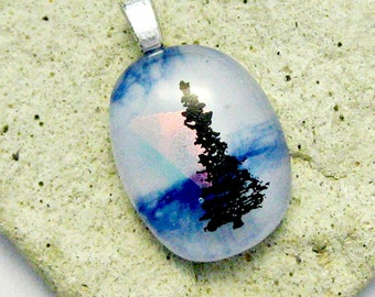 Fused Dichroic Glass Pendant - Tree of Life Pendant