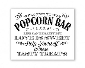 Printable Popcorn Bar Sign, Black Lettering, Wedding Sign, Party, Life Can Be Salty But Love Is Sweet, #PC14B