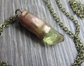 Yellow Apatite in Brass Bullet Shell Necklace