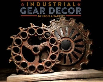 Industrial Gear Decor, Antique Cast Iron