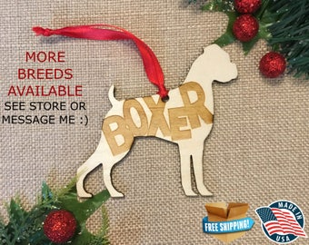 Boxer Christmas Ornament *** Dog Christmas Ornament *** Dog Breed Ornament  ***Dog Lover Gift *** Christmas Holiday Ornament ***