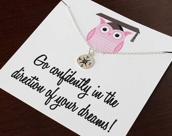 Graduation gift, graduation gift for her, graduation her, graduation gift woman, graduation, graduation for her, compass necklace, graduate