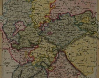 1814  J Russell Map of Germany - previous to the dissolution of the German League in August 1806