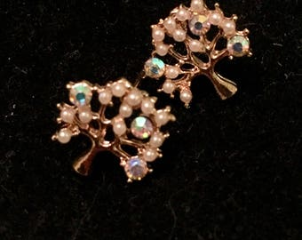 Pearl and rhinestone Cherry blossom tree stud earrings.