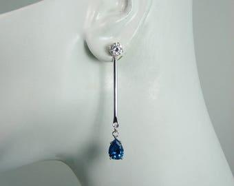 Earring JACKETS for Studs, Jackets for Diamonds, Bar Dangle Ear Jackets, Sterling Silver London Blue Topaz Pear JDSSLBT10x7PBAR