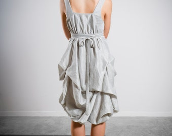 Silver Bridesmaid Dress, Grey Bridesmaid Dress, Sleeveless Dress, Knee Length, Draped Grecian Dress, Party Dress Short Dress, Casual Wedding