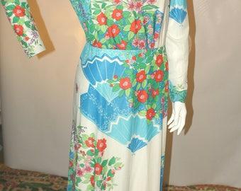 Vintage Jersey Floral Maxi Dress