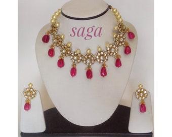 Kundan Flower Choker Set/ Ethnic Indian Jewellery/ Fashion Jewellery/ Red Tumble Set