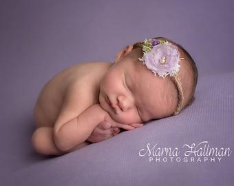 Purple Chiffon Tieback, Baby Headband, Photo Prop, Newborn Tieback, Newborn Headband, Baby Tieback, Newborn Photo Prop, Flower Girl Headband