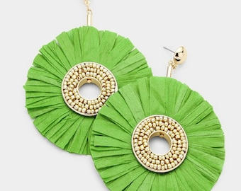 Raffia Disc Dangle Earrings - Gold/Green