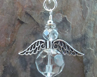 Faceted glass angel pendant with silver plated wings & halo