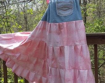 Bohemian Gypsy Sundress, Hippie Summer Festival Dress, Plus Size Maternity Dress, Boho Maxi Beach Dress, Recycled Denim Tie Dye Eco Clothing