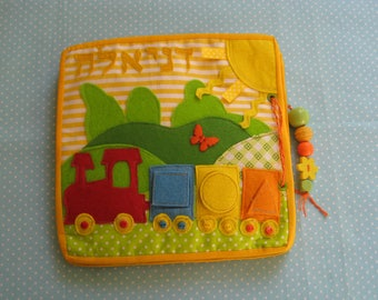A train quiet Book, busy book, educational toy, children books, activity toy, soft book, developmental toys- 6 pages, Ages 2-4