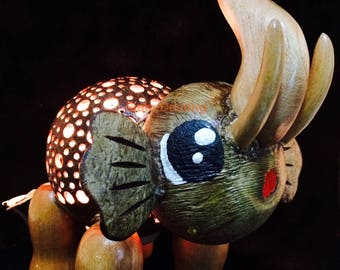 Elephant Handmade Coconut Shell Wood Table Lamp Bedside Desk Lamp for Decor