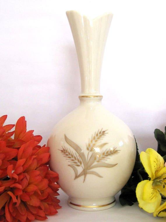 Vintage Lenox Vase Wheat Burberry Ivory China Hand Decorated