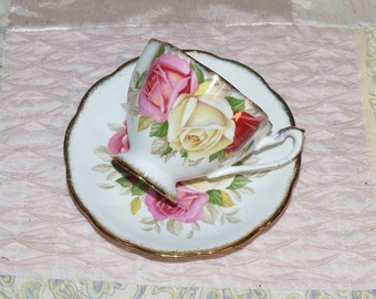 Queen Anne Tea Cup and Saucer  Roses - 2041