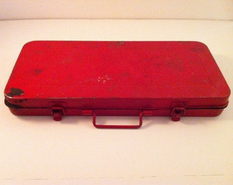 Vintage 1970's Royal Seal Red Metal Socket Wrench Box (only!)