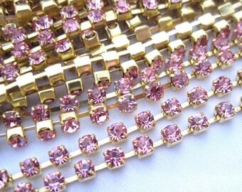 2ft Pink Stone Glass Chain Brass Link 3mm Rhinestone Beads dc018