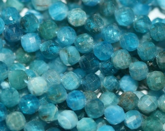 """15"""" Strand Neon Blue Apatite Faceted Round Beads 3mm."""