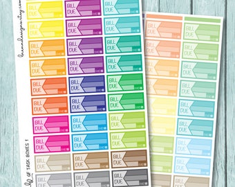 Rainbow Bill Due Stickers, Financial Planning and Budget Tracking, Planner Stickers for use with ERIN CONDREN LIFEPLANNER™