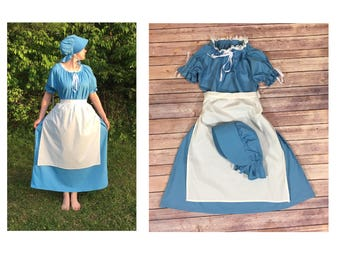 Dress and Apron (no bonnet) - Girls Pioneer Trek Colonial Frontier Prairie Pilgrims Renaissance Reenactment Civil War Dress Costume