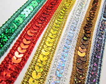 Holographic 1/2 inch Sequined Trim in Emerald Green, Bright Red, Gold, Silver, Brown, and Gunmetal by the Yard